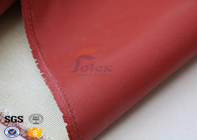 1200 Degree Silicone Coated Glass Cloth , Heat Resistant Fabric Fiberglass