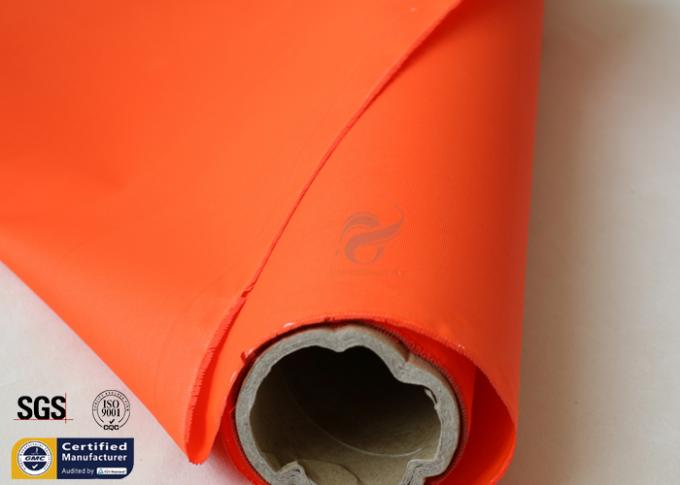 Orange Acrylic Coated Fibreglass Fabric 500℉ 0.2MM 260G Chemical Flame Resistant