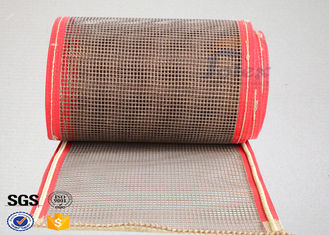 China Brown PTFE Teflon Coated Fiberglass Mesh Fabric Conveyor Belt 4X4 mm supplier