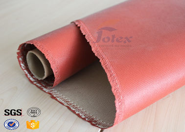China 1200 Degree Silicone Coated Glass Cloth , Heat Resistant Fabric Fiberglass supplier