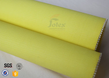 China PU Coated thermal insulation jackets Fiberglass Fabric  0.5mm Yellow Satin supplier