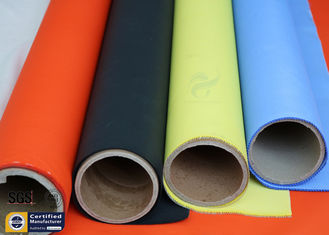 China Orange Acrylic Coated Fibreglass Fabric 500℉ 0.2MM 260G Chemical Flame Resistant supplier