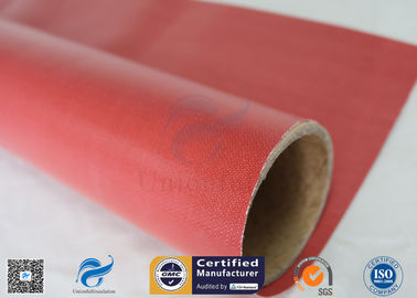 China Furnace Curtain 0.45mm 40/40g 1000mm Red Silicone Rubber Coated Fiberglass Fabric supplier
