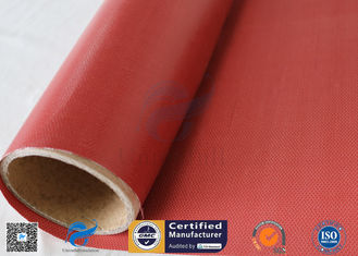 China Removable Insulation Jacket 0.45mm Red Color 510g Silicone Coated Fiberglass Fabric supplier