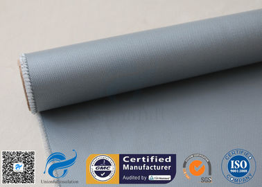 China E - Glass 260℃ Gray Silicone Coated Curtains 4HS 510g / 590 Silicone Coated Fiberglass Fabric supplier