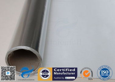 China Silver Coated Fabric 430G 0.43MM Twill Aluminium Foil Fiberglass Pipe Insulation supplier