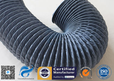 China 150mm Grey PVC Coated Fiber Glass Hose Fiberglass Flexible Air Ducting supplier
