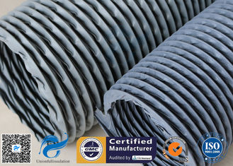 "China 6"" Grey PVC Coated Fiberglass Fabric Flexible Air Duct For Fume Extraction supplier"