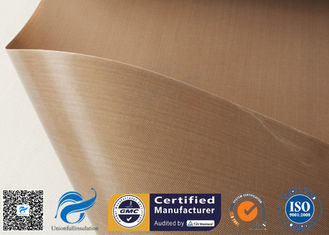 China Tan  PTFE Coated Fiberglass Fabric For Hot Press Anti Stick Purposes supplier