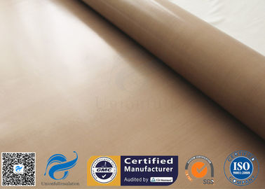 China Brown PTFE Coated Fiberglass Cloth 0.16MM 6MIL Non Stick Plain Weave supplier