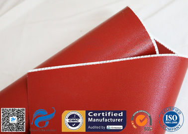 China Heat Insulation 18oz 510g Red Silicone Coated Fiberglass Fabric Anti - Corrosion supplier