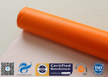China 0.45mm Chemical Corrosion Resistant Orange Silicone Coated Fiberglass Cloth Fabric supplier