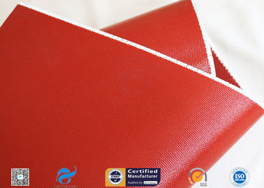 China 1010gsm Glossy Red Silicone Coated Fiberglass Fabric For Engine Insulation Parts supplier