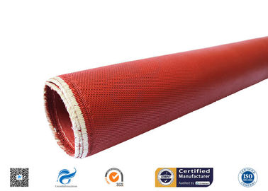 China Heat Resistant Red Silicone Coated Fiberglass Cloth Double Sides 1.3mm supplier