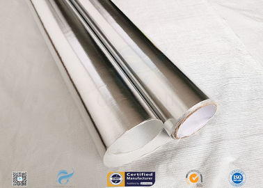 China 0.43mm Light Reflective Silver Coated Fabric Aluminium Foil E Glass Fabric For Pipes supplier