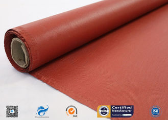 China 0.75 mm Red Silicone Coated High Silica Cloth Heat Resistant supplier