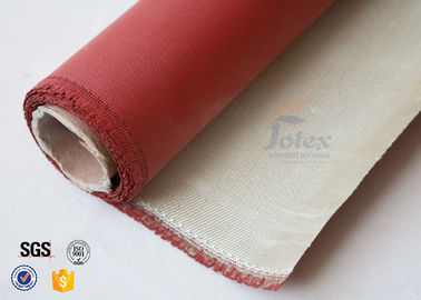 China 0.8mm 700gsm Red Silicone Coated High Silica Fabric Cloth For Fire Blanket factory