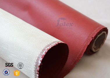 China 800℃ 0.8mm Red Silicone Coated High Silica Fabric For Heat Insulation factory