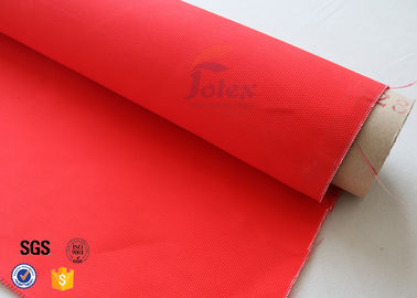 China 2523 Red Acrylic Coated Fiberglass Fabric Industrial Fire Blanket / Curtain factory