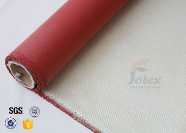 "China 0.7mm 36"" High Silica Cloth Satin Weave Red Silicone Coated Fiberglass Fabric factory"