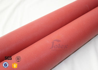 China 20oz 0.7MM Red Silicone Coated High Silica Fabric 1000℃ Fiber Glass Cloth factory