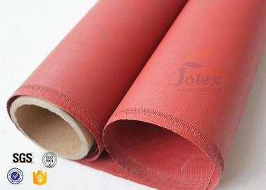 "China Red Silicone Coated High Silica Fabric 800℃ 0.7mm 37"" Fire Blanket Cloth factory"