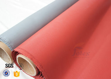 China Thermal insulation blankets 800℃ 0.8MM Red Silicone Coated High Silica Fabric factory