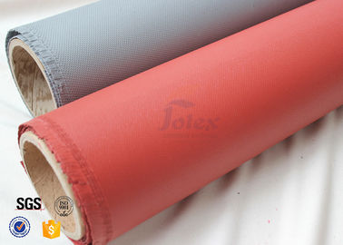 China Red Silicone Coated 800℃ 0.7MM Silica Fiberglass Fire Blanket 750g / m2 Weight factory