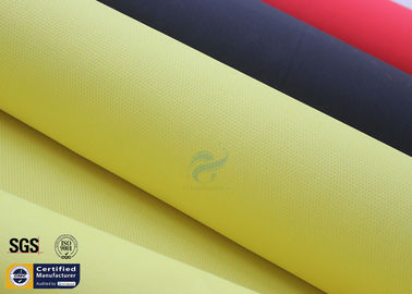 China Acrylic Coated Fiberglass Fabric 490GSM Yellow 550℃ Welding Blanket Curtains factory