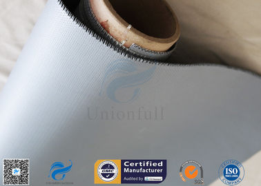China Satin Weave Abrasion Resistant 0.45mm 40/40g Silicone Coated Fiberglass Fabric factory