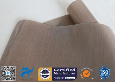 China 0.12mm Brown ptfe coated fiberglass cloth For Non Stick BBQ Grill Mat factory