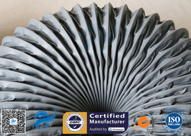China PVC Coated Fiberglass Fabric Grey Flexible Air Ducts 200MM 260℃ Waterproof factory