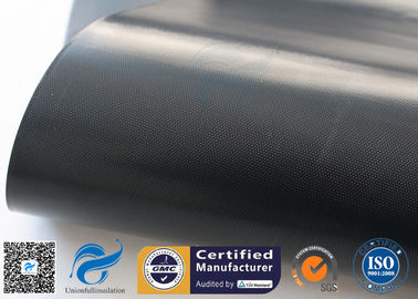 China 0.25mm 15oz Plain Weave Black PTFE Coated Fiberglass Cloth Fabric factory