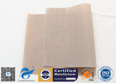 China 0.12mm Beige Ptfe Coated Glass Fibre Fabric With FDA Standard factory