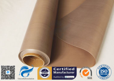 China 0.15mm 300gsm Brown Heat Resistant PTFE Coated Fiberglass Cloth FDA Quality factory
