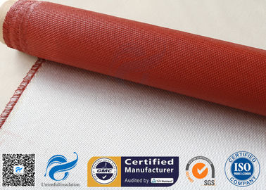 China 32OZ Red Silicone Coated Fiberglass Fabric Industrial Fire Safe Blanket 550℃ distributor