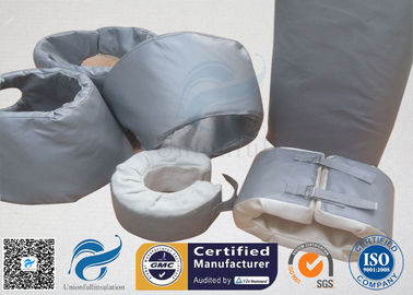 High Temperature Grey Silicone Fiberglass Removable Thermal Insulation Covers , Flange Thermal Covers