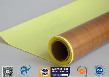 China Self - Adhesive Tapes Brown PTFE Coated Fiberglass Fabric Sticker 1000mm Width 50 Meter distributor