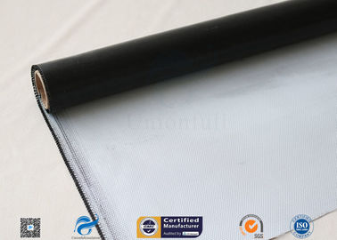 China 0.45mm Black Silicone Coated Thermal Insulation Fiberglass Fabric 8H Satin Weave factory