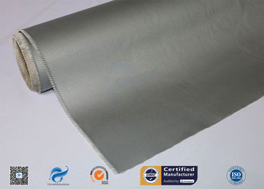 China 0.45mm High Temperature Resistant Silver Grey Silicone Coated Fiberglass Cloth factory