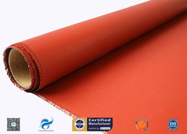 China 0.46 mm Red Fire Resistance Insulation Silicone Coated Glass Fiber Fabric factory