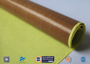 China 0.13mm Self - Adhesive Tape Brown PTFE Coated Fiberglass Fabric factory
