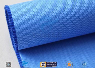 China 510GSM Silicone Coated Glass Fabric Plain Weave Electrical Insulation Blue factory