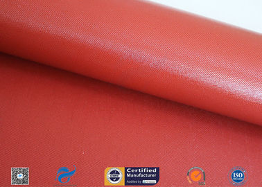 China Heat Insulation 18oz 510g Red Silicone Coated Fiberglass Fabric Anti - Corrosion factory