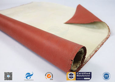China 96% High Silica Cloth Coated With One Side Red Silicone  For Fireproof distributor