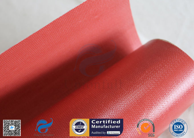 1000mm Wide 50m Long 40/40g Double - Sided Red Silicone Coated Fiberglass Fabric
