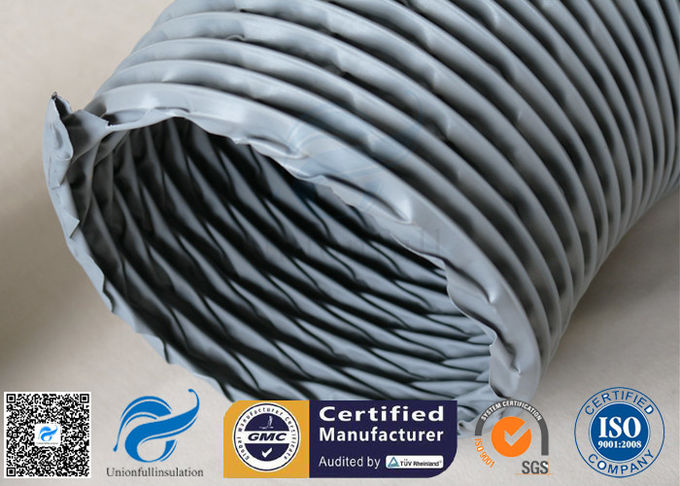 PVC Coated Fiberglass Fabric Flexible Air Ducts 200MM 10M Grey 260℃ HAVC System