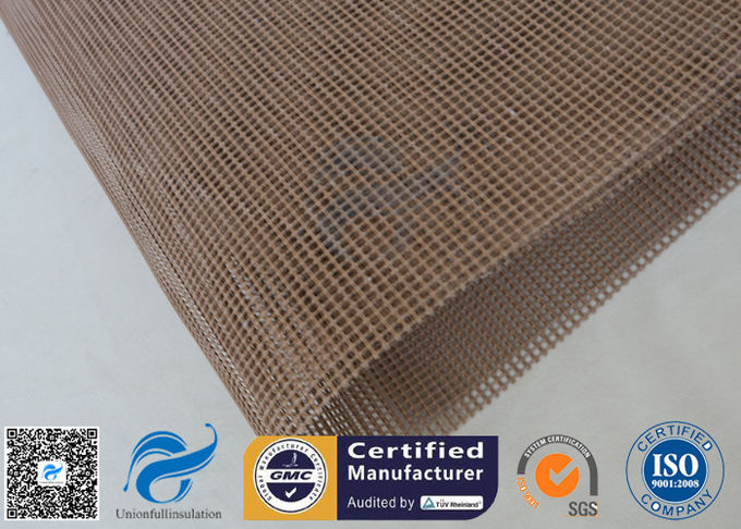 Brown 4x4mm Teflon Ptfe Coated Fiberglass Fabric For