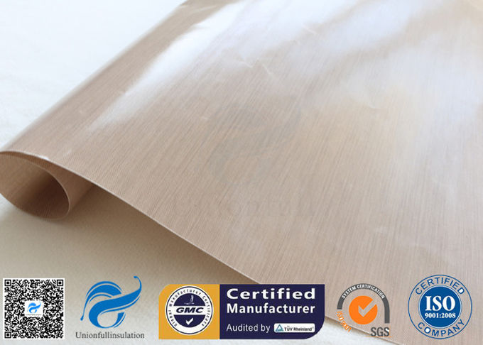 0.12mm Beige Ptfe Coated Glass Fibre Fabric With FDA Standard