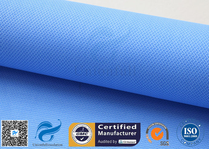 Blue Rubber Silicone Coated Fiberglass Fabric Thermal Insulation Cover 18oz